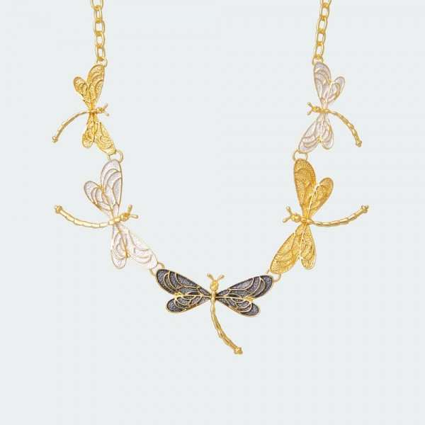 Fashion Stories Breezy Dragonflies Necklace in Gold Plating