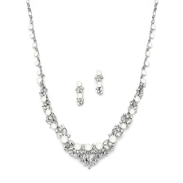 Elegant Silver Wedding Necklace Set with Crystals & Pearl Cluster