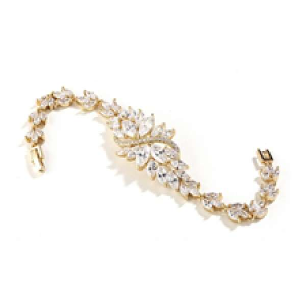 Petite Size Gold Bridal Bracelet with Marquis Cubic Zirconia Cluster
