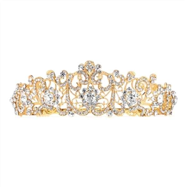 Vintage Tiara with Clear Crystals in Gold Plate