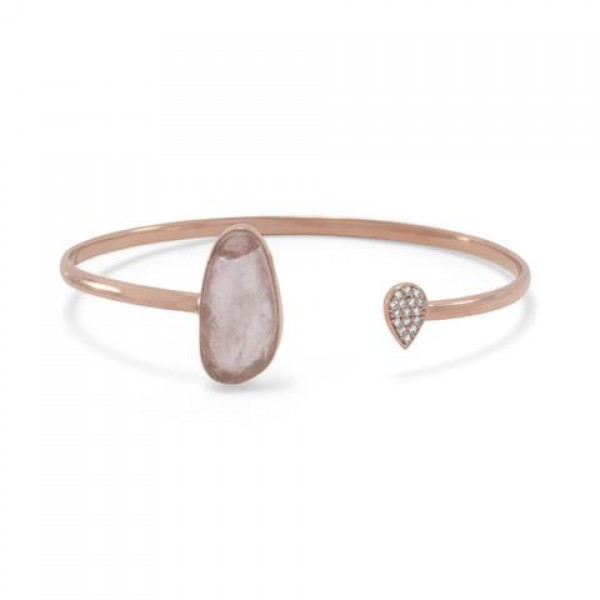 14K Rose Gold Plated Rose Quartz and CZ Open Cuff Bracelet