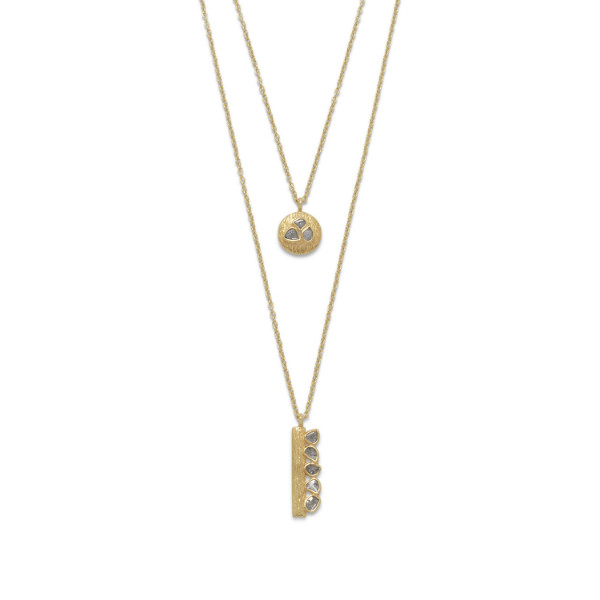 14k Gold Plated Double Strand Polki Diamond Necklace