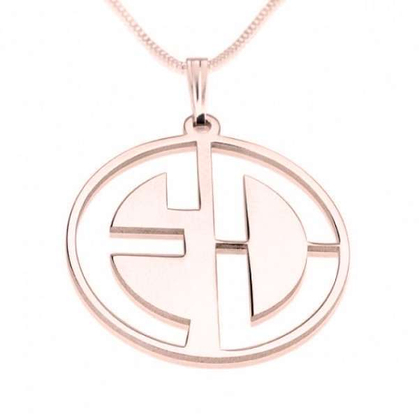2 Block Letter Monogram in Rose Gold Plating