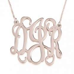 Monogram Initial Necklace in Rose Gold