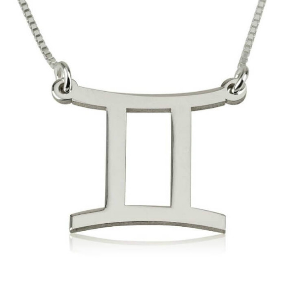 Gemini Zodiac Sign Necklace in Sterling Silver