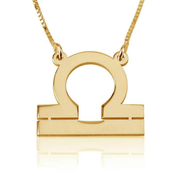 Libra Zodiac Sign Necklace in Gold Plate